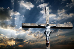 Cross of Jesus Christ. The cross of Jesus Christ against the beautiful sky Stock Photo