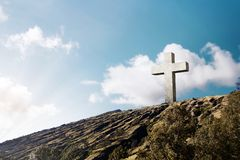 Cross of Jesus christ on hill royalty free stock photo