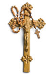 Cross with Jesus and rosary Royalty Free Stock Photos