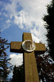 Cross with Jesus sculpture Royalty Free Stock Image