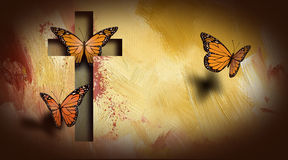 Cross of Jesus setting butterflies free. Graphic composition of the cross of Jesus setting free a trio of beautiful butterflies. Art suitable for possible use as Stock Photos