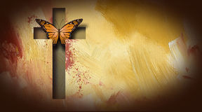 Cross of Jesus setting butterfly free. Graphic composition of the cross of Jesus setting free a beautiful butterfly. Art suitable for possible use as greeting Stock Photos