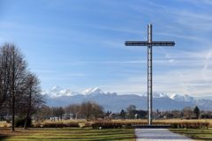 Cross and Julian Alps Stock Image