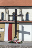 Cross of Katyn in Krakow. KRAKOW, POLAND - MAY 4, 2014: Cross of Katyn in front of the church St. Giles, commemorating Polish victims of Soviet crimes, including Stock Images