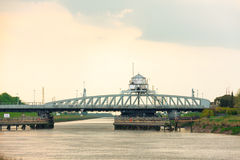 Cross keys swing bridge over river nene in england Royalty Free Stock Photography