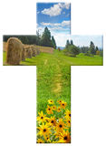 Cross with landscape royalty free stock photo