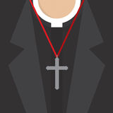 Cross Lanyard On On Priest's Neck. Royalty Free Stock Image