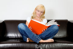 Cross legged reading Royalty Free Stock Photo