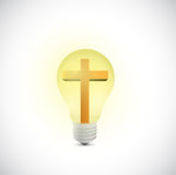 Cross and light bulb illustration design stock illustration