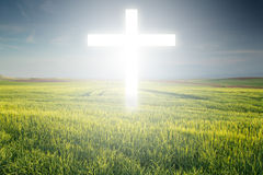Cross of light. Christian Cross appears in shine bright light Royalty Free Stock Photos