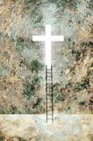 Cross Of Light. And Ladder on Wall Royalty Free Stock Photo