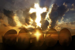Cross light in the row golden egg. From the sky stock photos