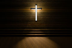 Cross with light shafts. Faith symbol.abstract light of cross religion symbol.cross at the church. Stock Photography