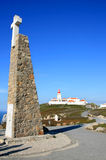 Cross and lighthouse of Cabo da Roca, Portugal Stock Image