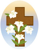 Cross and Lilies. Vector art in Illustrator 8. Stylized white lilies, cross and background are SEPARATE images on their own layers for easy manipulation Royalty Free Stock Image
