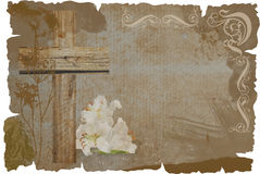 Cross and lily on grunge background Royalty Free Stock Photography
