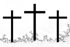 Cross lll b&w. Cross, symbol of the Christian faith Royalty Free Illustration