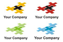 Cross logo element. Colored corporate logo with four crosses Royalty Free Stock Image