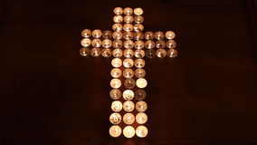 Cross made of candles stock video