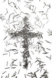 Cross made of iron nails Stock Image