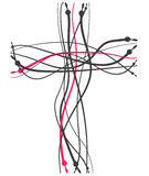 Cross made from line Stock Image