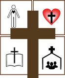 Cross. The main provisions of the Christian faith on the background of the cross Stock Photo