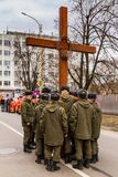 Cross march marking the Veneration of the Cross Sunday in Uzhgor Royalty Free Stock Images