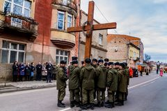 Cross march marking the Veneration of the Cross Sunday in Uzhgor Stock Image