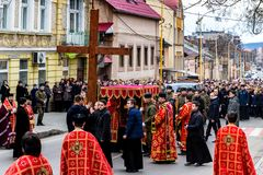 Cross march marking the Veneration of the Cross Sunday in Uzhgor Stock Images