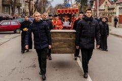 Cross march marking the Veneration of the Cross Sunday in Uzhgor Stock Photo