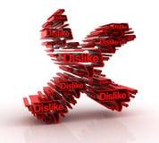 Cross mark with dislike symbols Stock Photography
