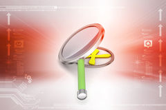 Cross mark with magnifier. In color background Stock Photo