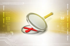 Cross mark with magnifier. In color background Royalty Free Stock Images