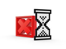 Cross mark and sandglass icon. Stock Photography