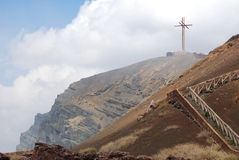 Cross at Masaya Volcano Crater Stock Photo