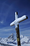 Cross and the Matterhorn Stock Photography