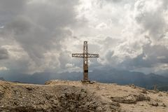 Cross on mauntain top. Passo Pordoi. Dolomites Alps. South Tyrol Stock Images