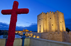 Cross of May, Roman Bridge, Mezquita Cathedral and Calahorra tower, Cordoba, Andalusia Stock Photo