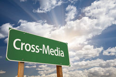 Cross-Media Green Road Sign Royalty Free Stock Photography