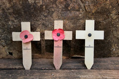 Cross memorial to prisoner of war at  Hellfire Pass, Kanchanabur Royalty Free Stock Photos