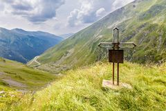 Cross for memory of car accident victims. Royalty Free Stock Images