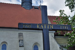 The cross in memory of Katyn Stock Images