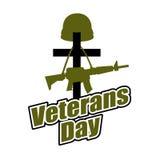 Cross and military helmet with gun. Veterans Day. Logo for natio Stock Photos