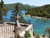 Cross on Mljet. Cross with a view on islands (Mljet -Croatia Royalty Free Stock Image