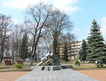 Cross monument in Marijampole, Lithuania Stock Photos