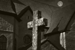 Cross and moon Royalty Free Stock Images