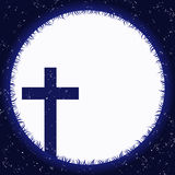 Cross and moon at night Royalty Free Stock Images