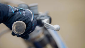 Cross motorcycle engine start. MX, close up shot of hand on handlebar Stock Photos