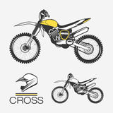 Cross Motorcycle with Helmet. Isolated vector sketch of of cross road bike Royalty Free Stock Image