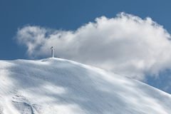 The cross of Mount Catria snow covered Royalty Free Stock Photos